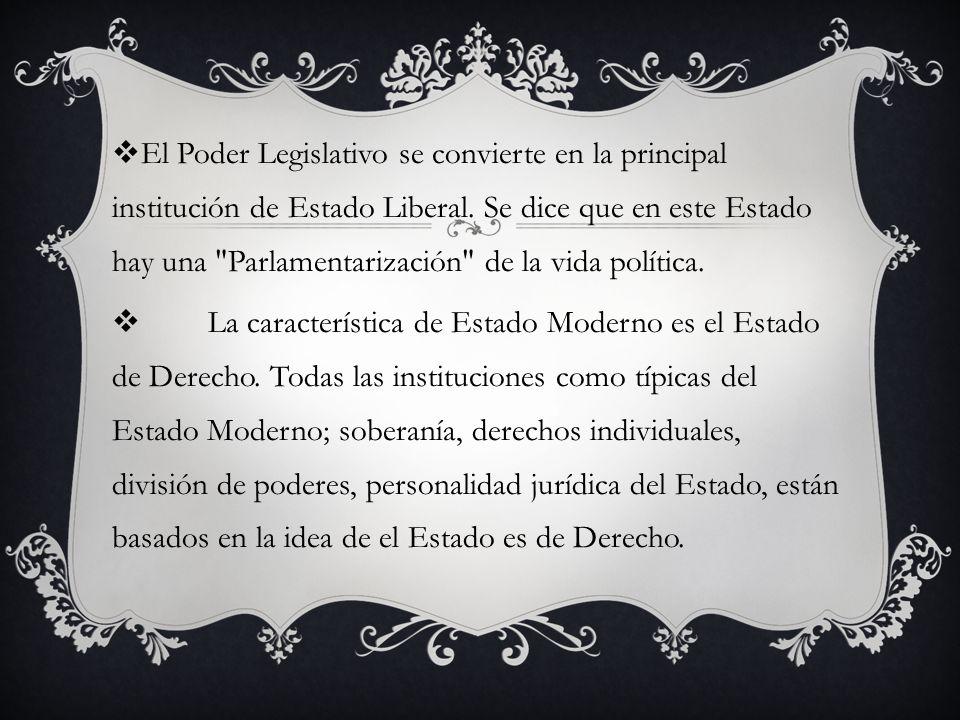 El Poder Legislativo se convierte en la principal institución de Estado Liberal.