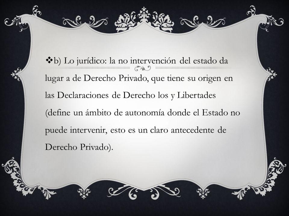 b) Lo jurídico: la no intervención del estado da lugar a de Derecho Privado, que tiene su origen en las Declaraciones de Derecho los y Libertades (define un ámbito de autonomía donde el Estado no puede intervenir, esto es un claro antecedente de Derecho Privado).