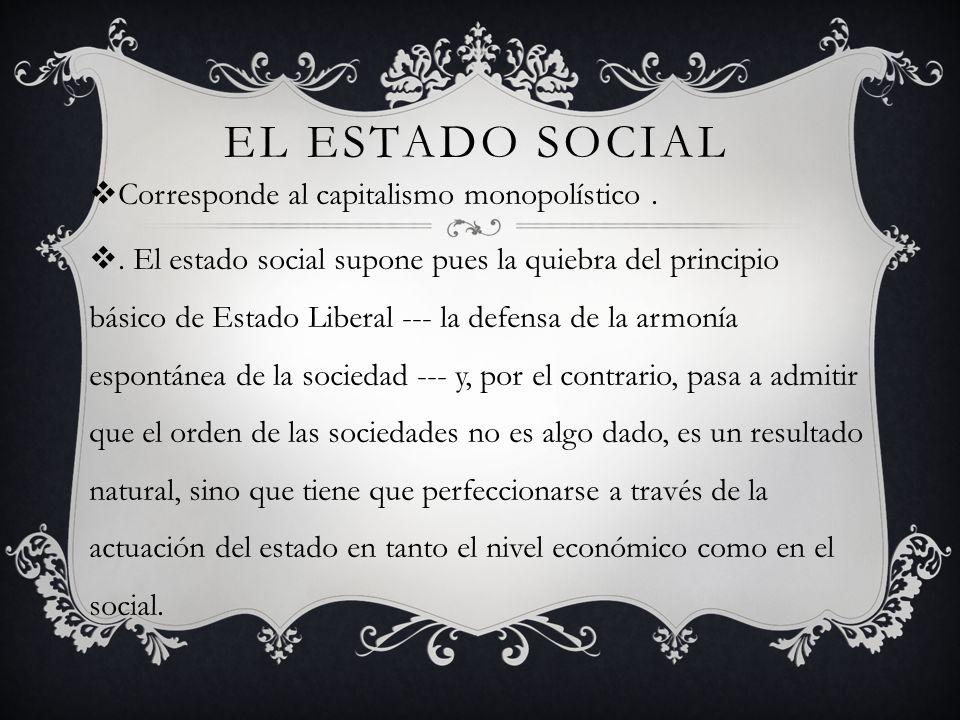 EL ESTADO SOCIAL Corresponde al capitalismo monopolístico..