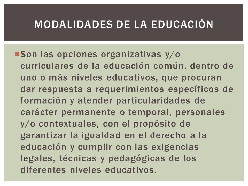Son las opciones organizativas y/o curriculares de la educación común, dentro de uno o más niveles educativos, que procuran dar respuesta a requerimie