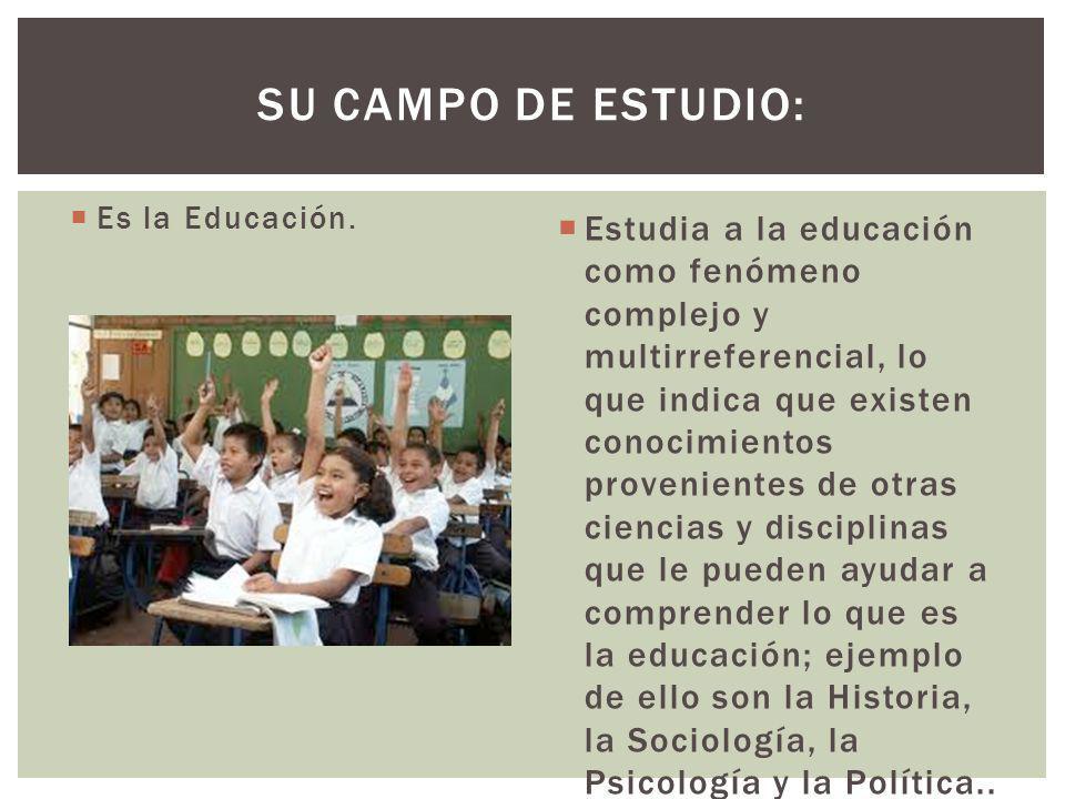 Es la Educación. Estudia a la educación como fenómeno complejo y multirreferencial, lo que indica que existen conocimientos provenientes de otras cien