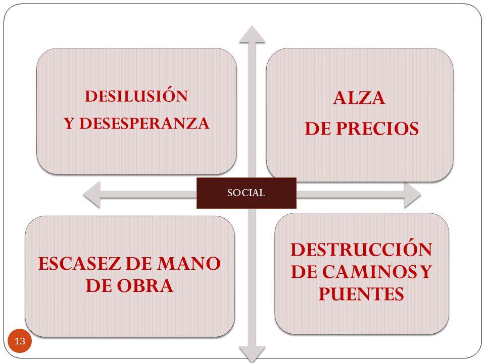 DESILUSIÓN Y DESESPERANZA ALZA DE PRECIOS ESCASEZ DE MANO DE OBRA DESTRUCCIÓN DE CAMINOS Y PUENTES SOCIAL 13