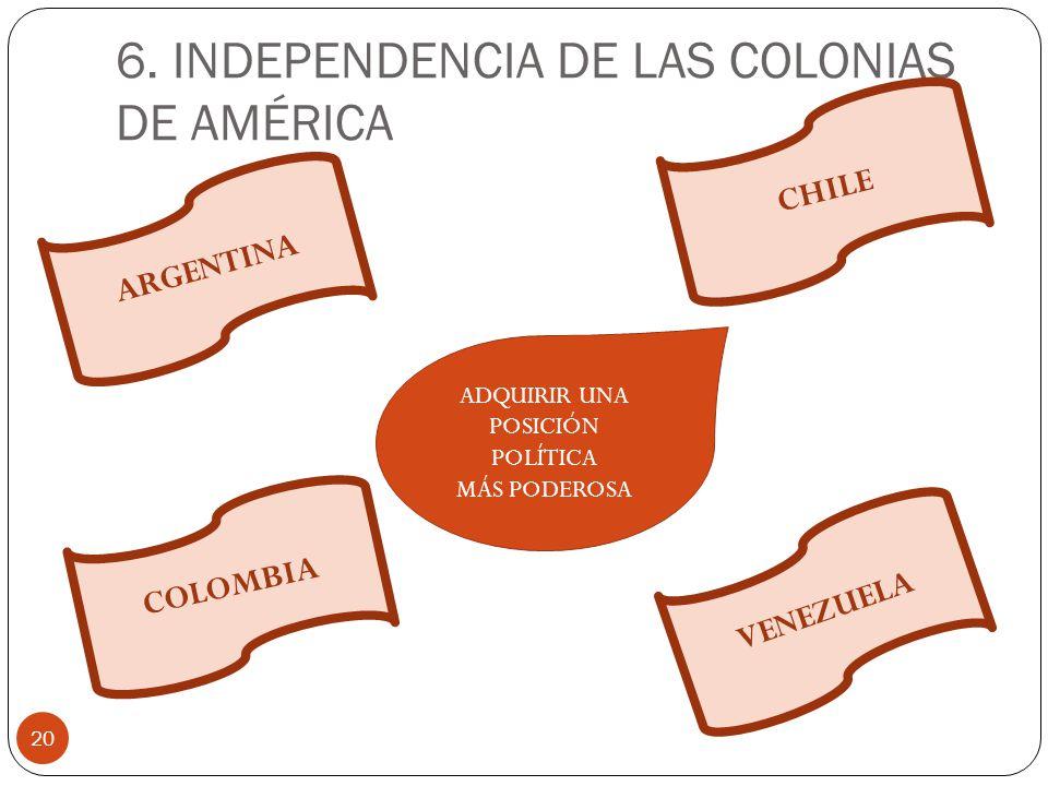 6. INDEPENDENCIA DE LAS COLONIAS DE AMÉRICA 20 ARGENTINA COLOMBIA VENEZUELA CHILE ADQUIRIR UNA POSICIÓN POLÍTICA MÁS PODEROSA