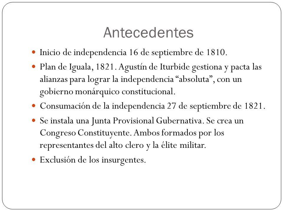 Antecedentes Inicio de independencia 16 de septiembre de 1810. Plan de Iguala, 1821. Agustín de Iturbide gestiona y pacta las alianzas para lograr la