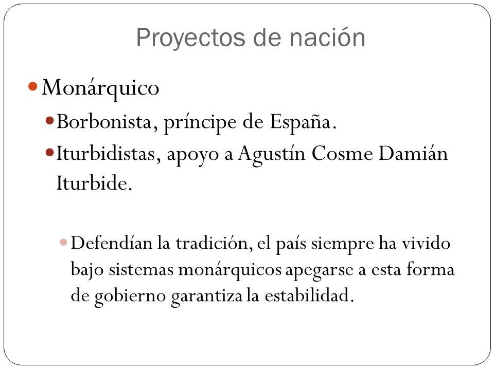 Proyectos de nación Monárquico Borbonista, príncipe de España. Iturbidistas, apoyo a Agustín Cosme Damián Iturbide. Defendían la tradición, el país si