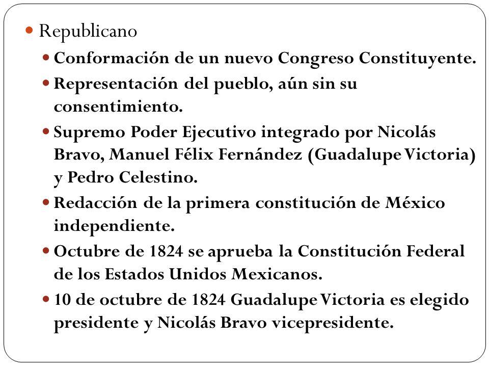 Republicano Conformación de un nuevo Congreso Constituyente. Representación del pueblo, aún sin su consentimiento. Supremo Poder Ejecutivo integrado p