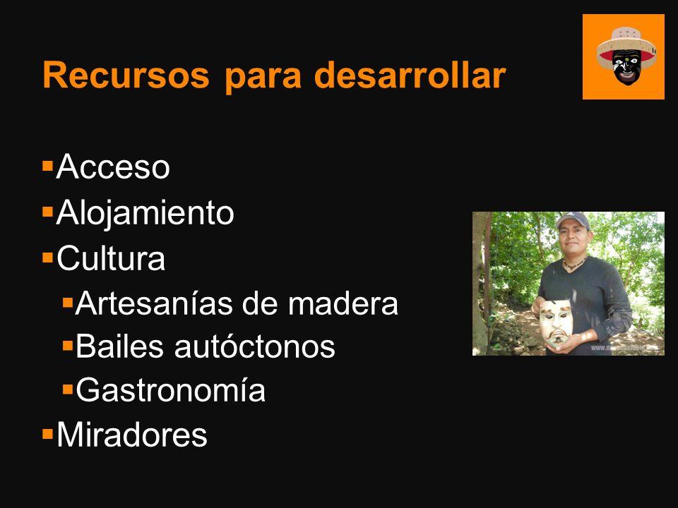 Recursos para desarrollar Acceso Alojamiento Cultura Artesanías de madera Bailes autóctonos Gastronomía Miradores