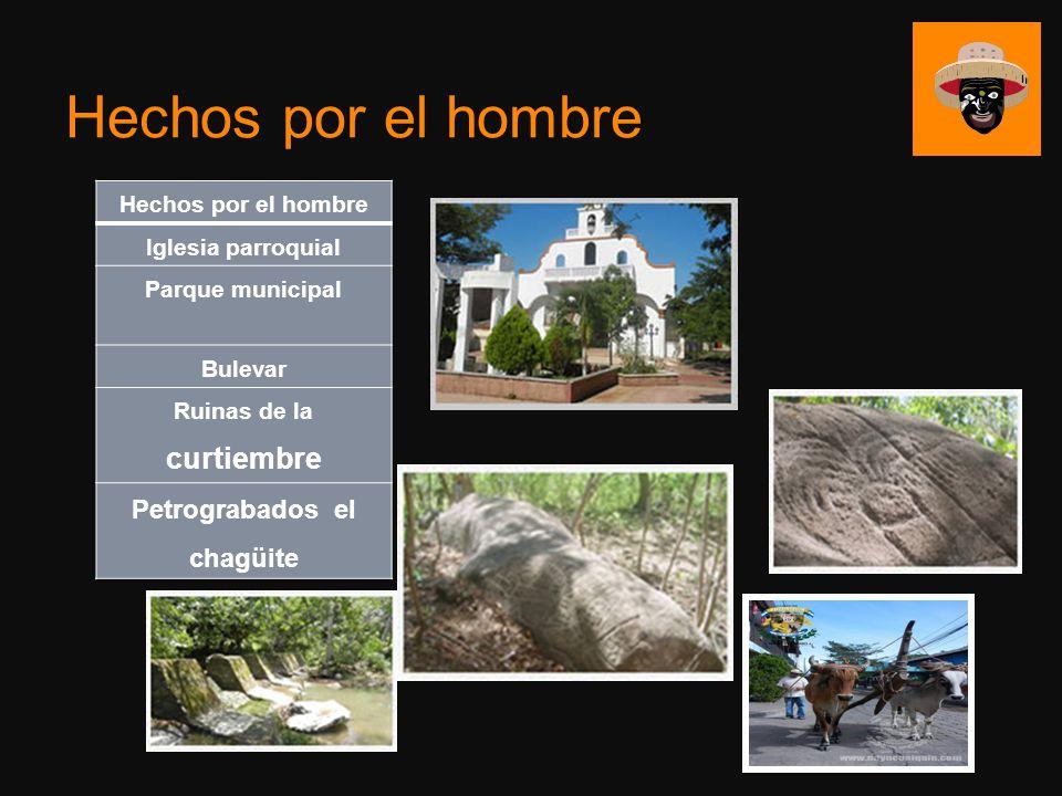 Hechos por el hombre Iglesia parroquial Parque municipal Bulevar Ruinas de la curtiembre Petrograbados el chagüite