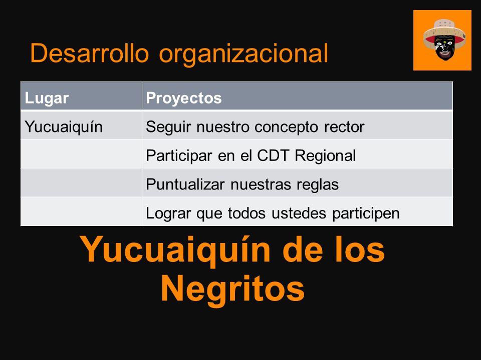Desarrollo organizacional LugarProyectos YucuaiquínSeguir nuestro concepto rector Participar en el CDT Regional Puntualizar nuestras reglas Lograr que