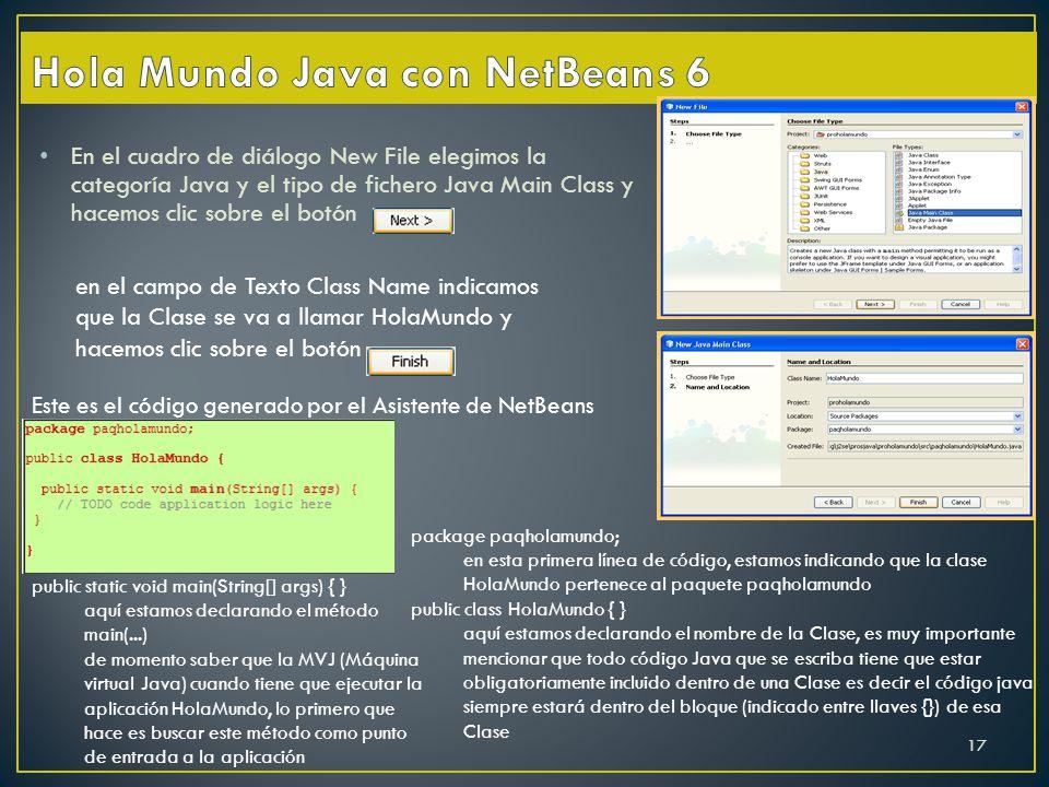 En el cuadro de diálogo New File elegimos la categoría Java y el tipo de fichero Java Main Class y hacemos clic sobre el botón en el campo de Texto Cl