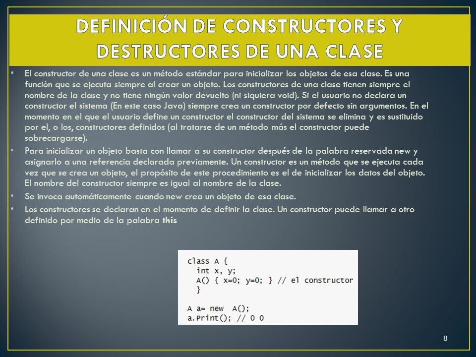 El constructor de una clase es un método estándar para inicializar los objetos de esa clase. Es una función que se ejecuta siempre al crear un objeto.