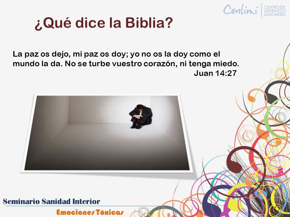 ¿Qué dice la Biblia? La paz os dejo, mi paz os doy; yo no os la doy como el mundo la da. No se turbe vuestro corazón, ni tenga miedo. Juan 14:27