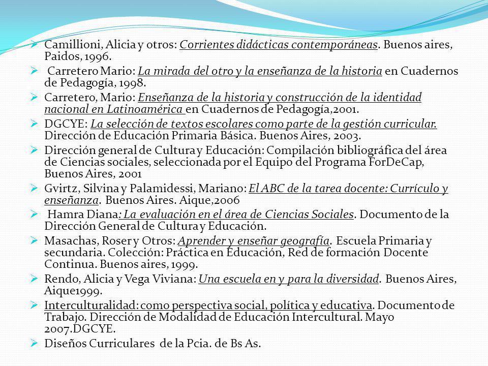 . Camillioni, Alicia y otros: Corrientes didácticas contemporáneas. Buenos aires, Paidos, 1996. Carretero Mario: La mirada del otro y la enseñanza de