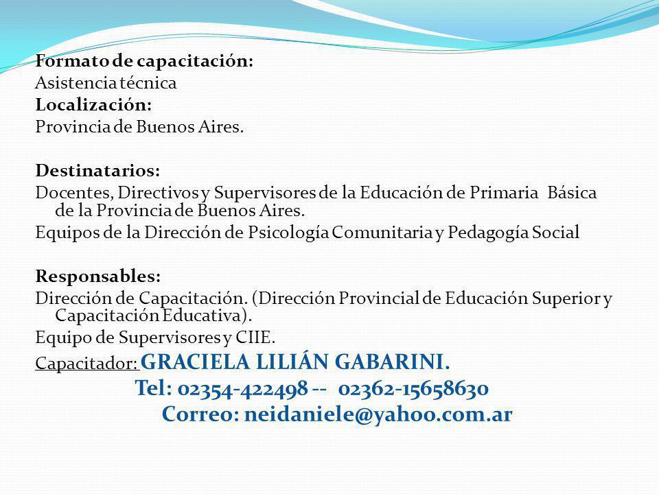 . Formato de capacitación: Asistencia técnica Localización: Provincia de Buenos Aires. Destinatarios: Docentes, Directivos y Supervisores de la Educac