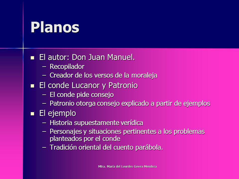 Planos El autor: Don Juan Manuel. El autor: Don Juan Manuel. –Recopilador –Creador de los versos de la moraleja El conde Lucanor y Patronio El conde L