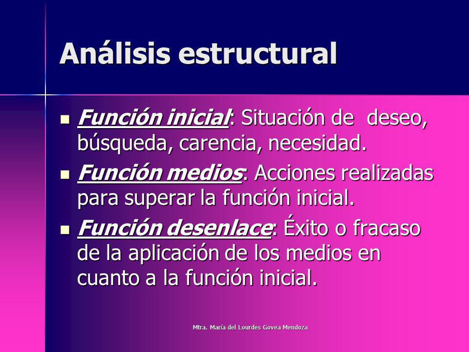 Análisis estructural Función inicial: Situación de deseo, búsqueda, carencia, necesidad. Función inicial: Situación de deseo, búsqueda, carencia, nece