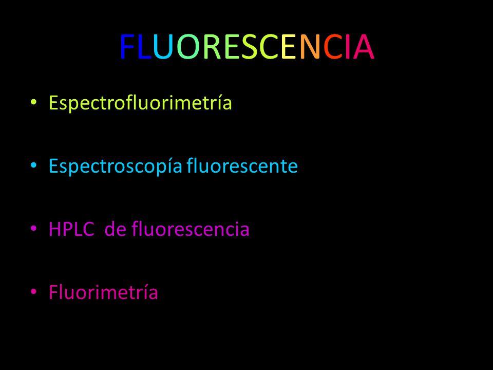 Espectrofluorimetría Espectroscopía fluorescente HPLC de fluorescencia Fluorimetría FLUORESCENCIA
