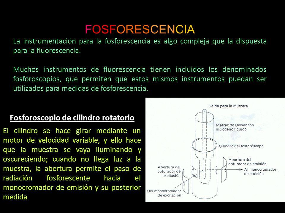FOSFORESCENCIA La instrumentación para la fosforescencia es algo compleja que la dispuesta para la fluorescencia. Muchos instrumentos de fluorescencia