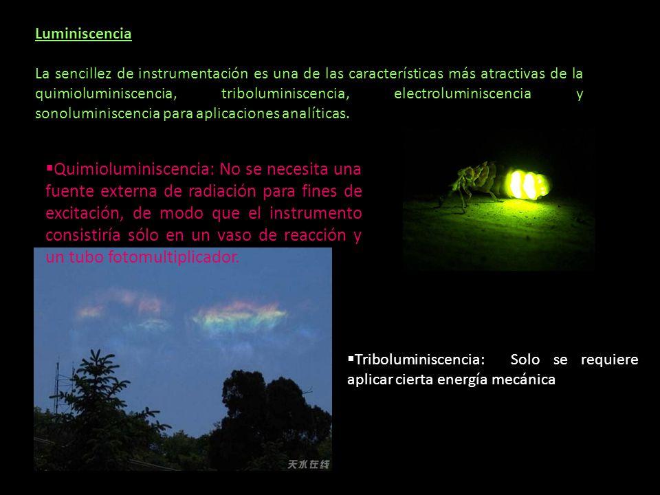 Luminiscencia La sencillez de instrumentación es una de las características más atractivas de la quimioluminiscencia, triboluminiscencia, electrolumin