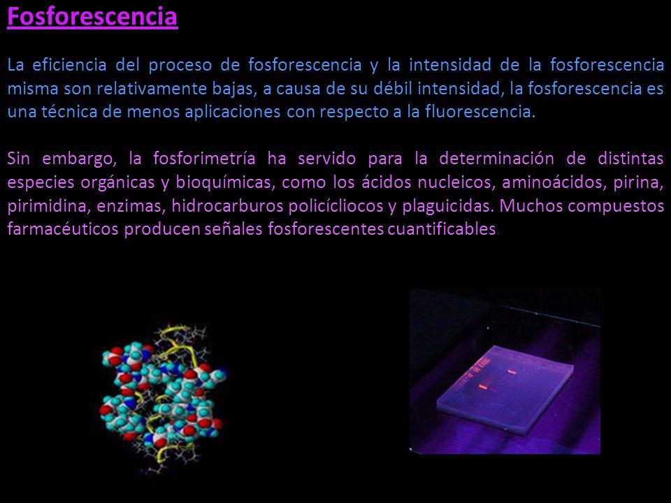Fosforescencia La eficiencia del proceso de fosforescencia y la intensidad de la fosforescencia misma son relativamente bajas, a causa de su débil int