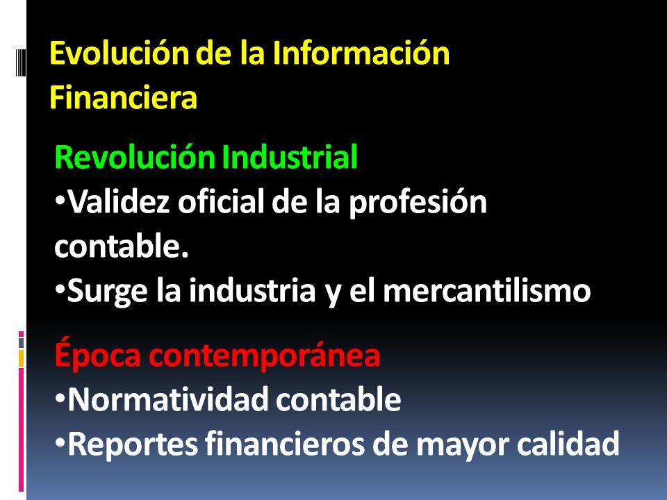 Evolución de la Información Financiera Revolución Industrial Validez oficial de la profesión contable. Surge la industria y el mercantilismo Época con
