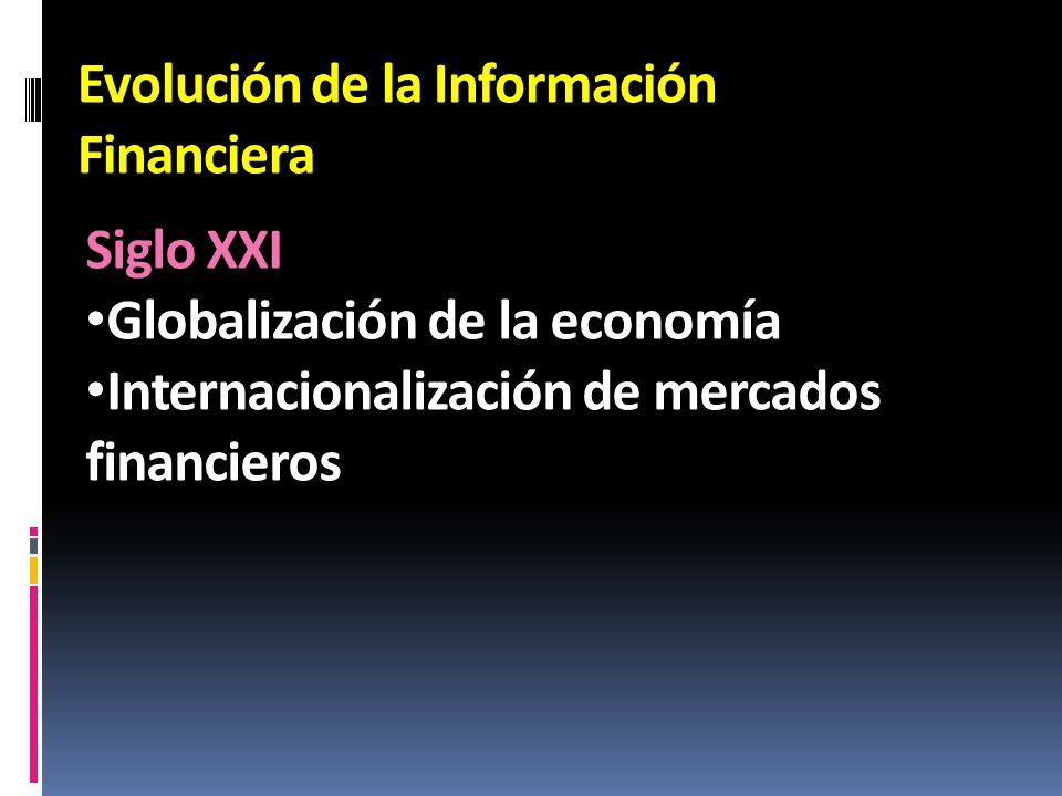 Evolución de la Información Financiera Siglo XXI Globalización de la economía Internacionalización de mercados financieros