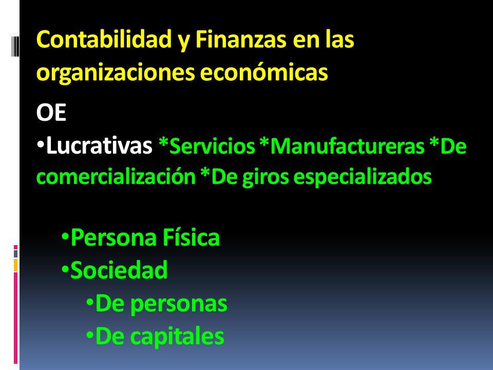 Contabilidad y Finanzas en las organizaciones económicas OE Lucrativas *Servicios *Manufactureras *De comercialización *De giros especializados Person