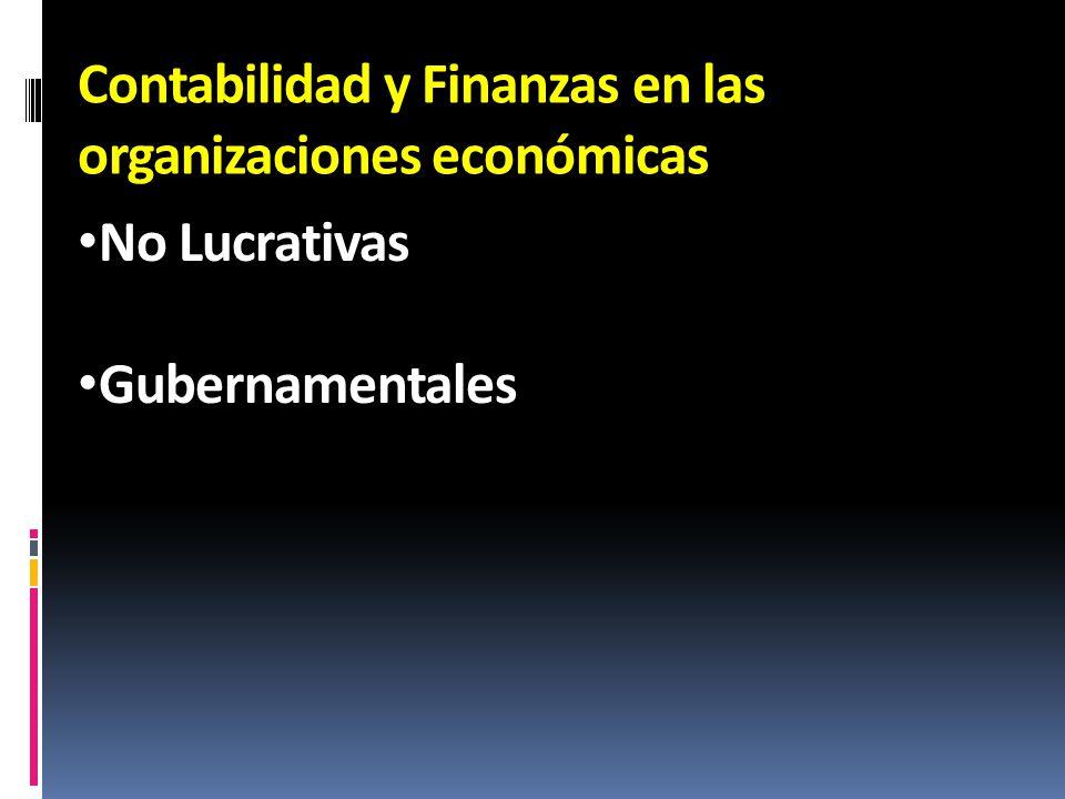 Contabilidad y Finanzas en las organizaciones económicas No Lucrativas Gubernamentales