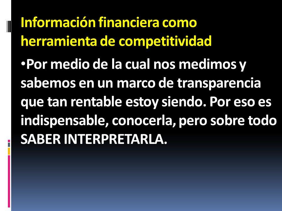 Información financiera como herramienta de competitividad Por medio de la cual nos medimos y sabemos en un marco de transparencia que tan rentable est