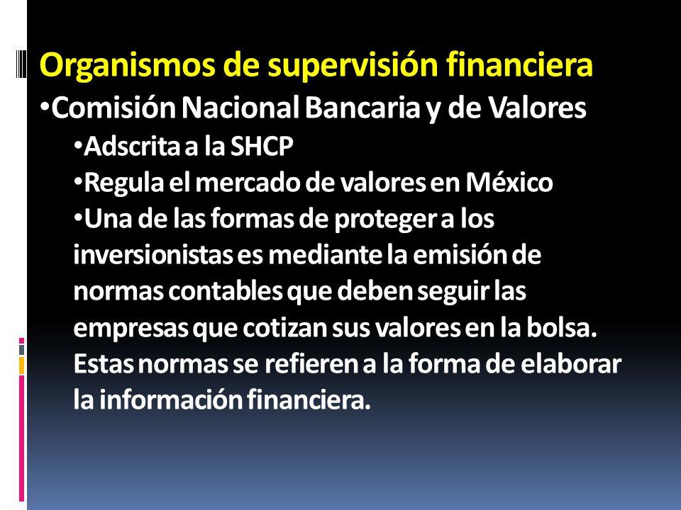 Organismos de supervisión financiera Comisión Nacional Bancaria y de Valores Adscrita a la SHCP Regula el mercado de valores en México Una de las form
