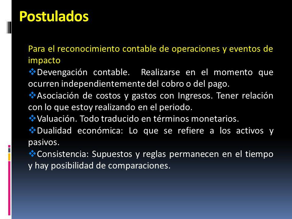 Postulados Para el reconocimiento contable de operaciones y eventos de impacto Devengación contable. Realizarse en el momento que ocurren independient