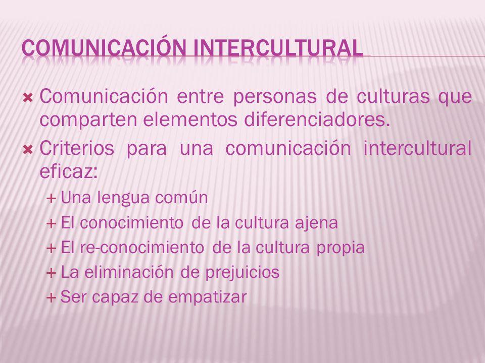 Comunicación entre personas de culturas que comparten elementos diferenciadores. Criterios para una comunicación intercultural eficaz: Una lengua comú
