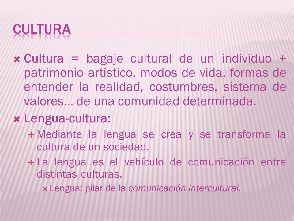 Cultura = bagaje cultural de un individuo + patrimonio artístico, modos de vida, formas de entender la realidad, costumbres, sistema de valores… de un