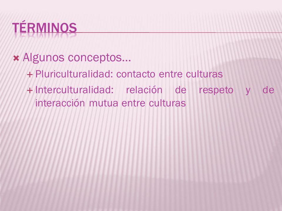 Algunos conceptos… Pluriculturalidad: contacto entre culturas Interculturalidad: relación de respeto y de interacción mutua entre culturas