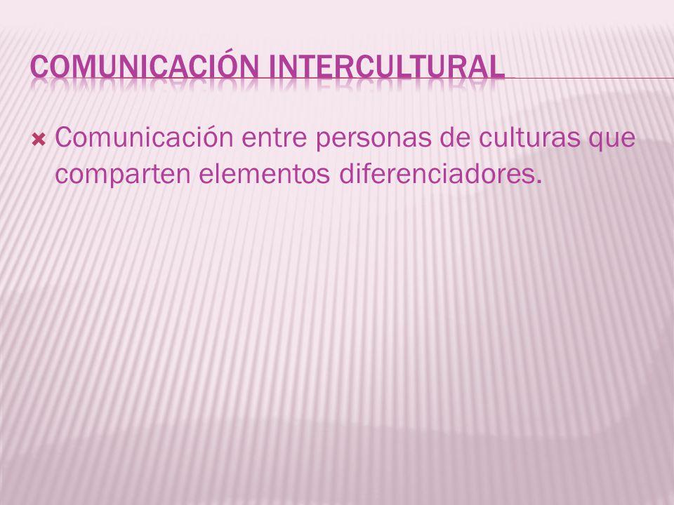 Comunicación entre personas de culturas que comparten elementos diferenciadores.