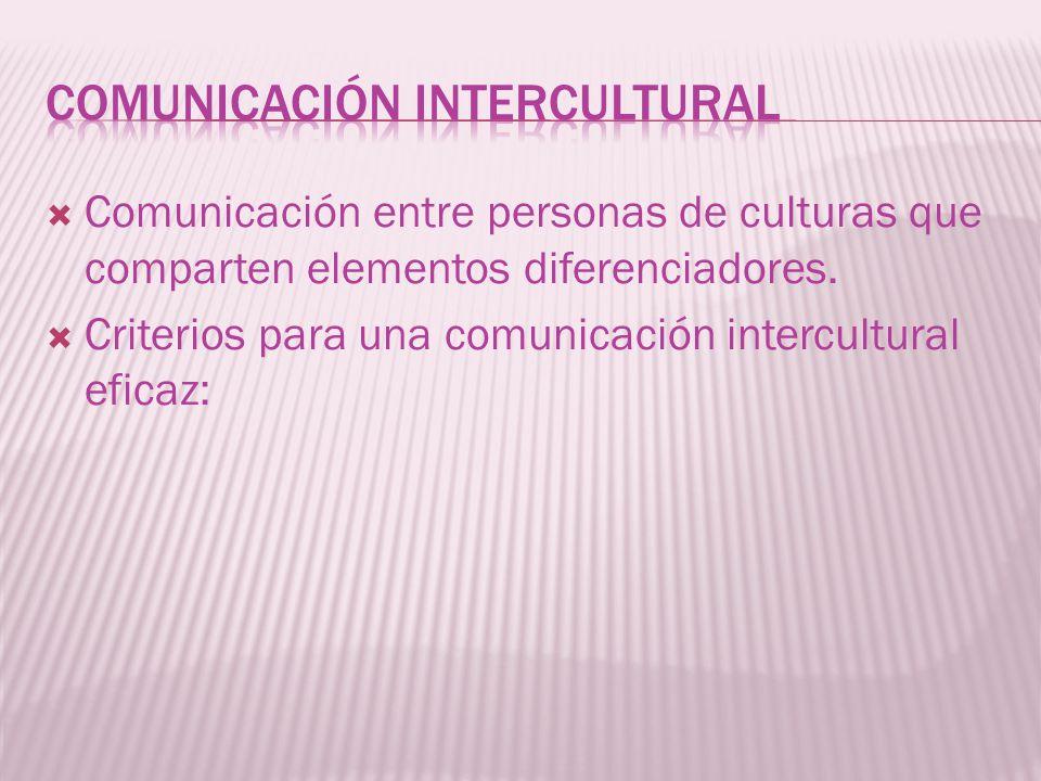 Criterios para una comunicación intercultural eficaz: