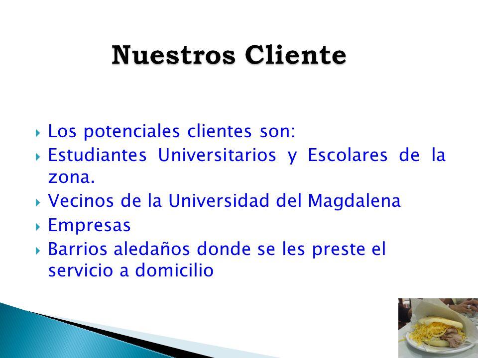 Los potenciales clientes son: Estudiantes Universitarios y Escolares de la zona. Vecinos de la Universidad del Magdalena Empresas Barrios aledaños don