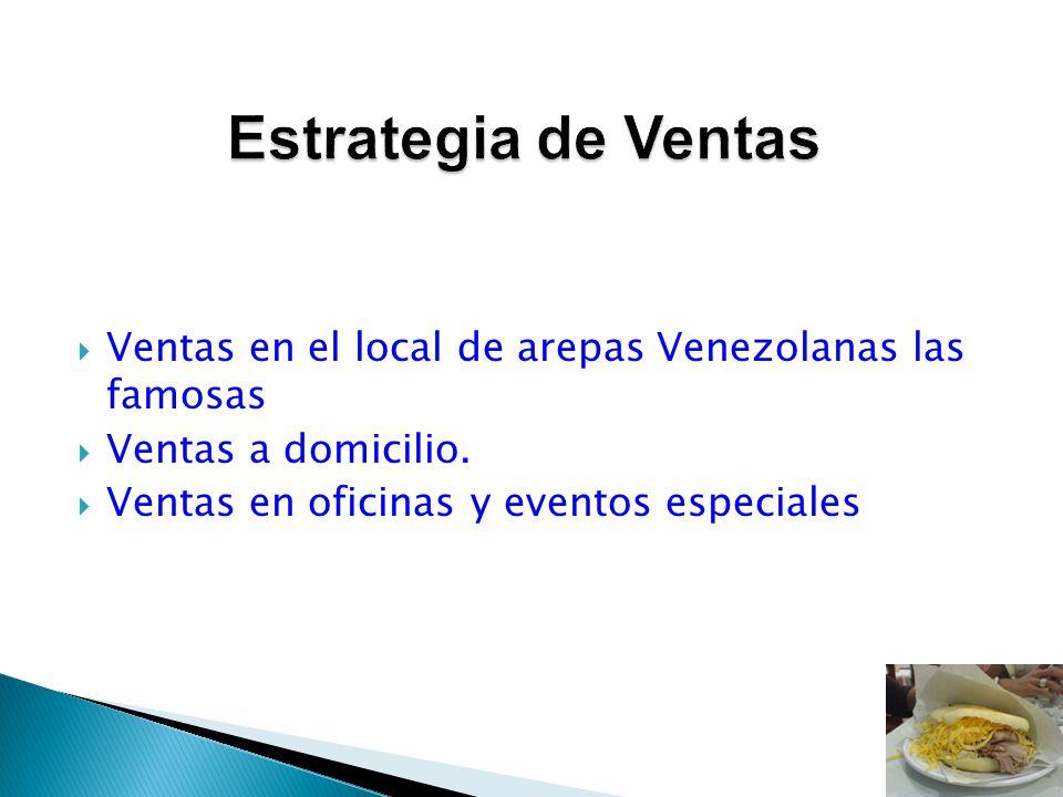Ventas en el local de arepas Venezolanas las famosas Ventas a domicilio. Ventas en oficinas y eventos especiales