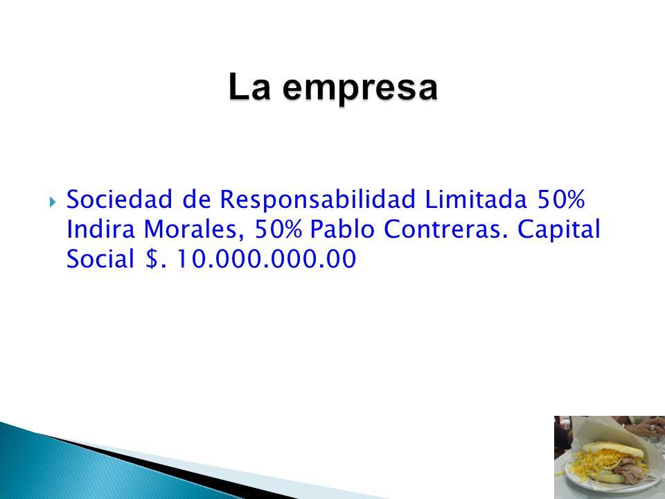 Sociedad de Responsabilidad Limitada 50% Indira Morales, 50% Pablo Contreras. Capital Social $. 10.000.000.00