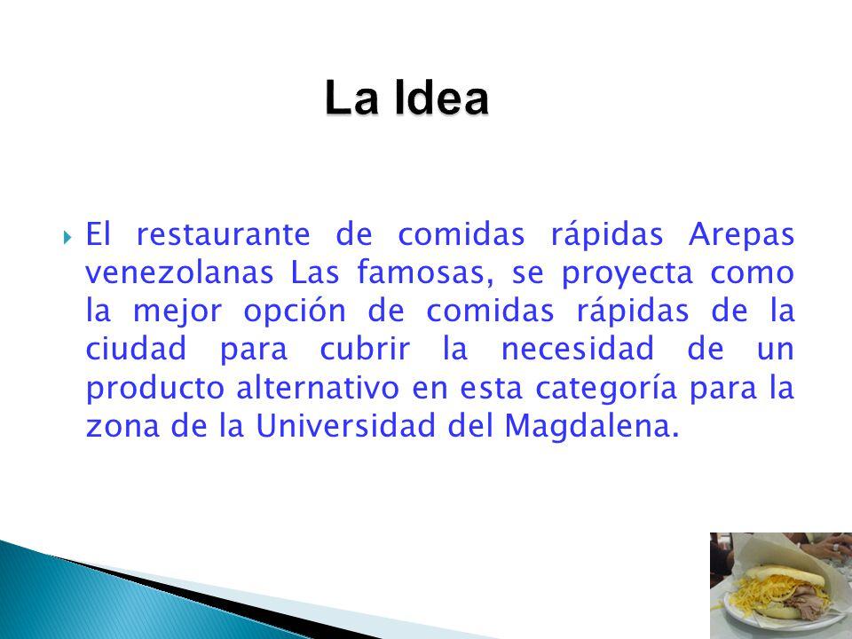 El restaurante de comidas rápidas Arepas venezolanas Las famosas, se proyecta como la mejor opción de comidas rápidas de la ciudad para cubrir la nece