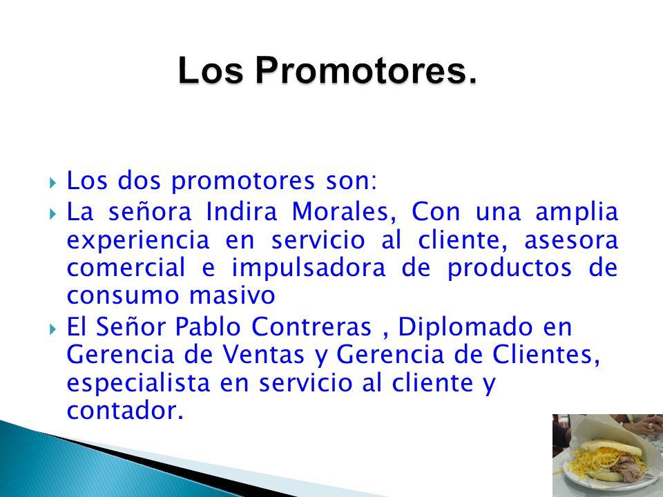 Los dos promotores son: La señora Indira Morales, Con una amplia experiencia en servicio al cliente, asesora comercial e impulsadora de productos de c