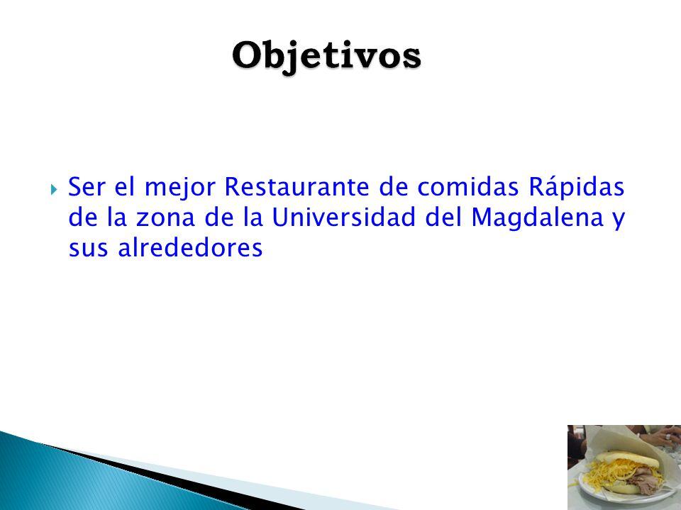 Ser el mejor Restaurante de comidas Rápidas de la zona de la Universidad del Magdalena y sus alrededores