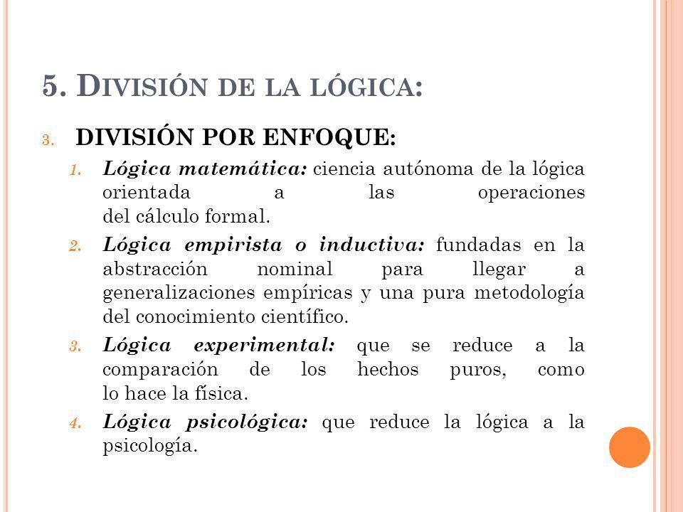 5.D IVISIÓN DE LA LÓGICA : 3. DIVISIÓN POR ENFOQUE: 1.
