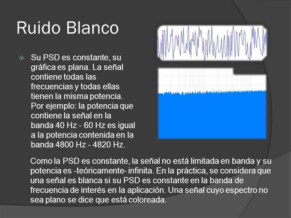 Ruido Blanco Su PSD es constante, su gráfica es plana. La señal contiene todas las frecuencias y todas ellas tienen la misma potencia. Por ejemplo: la