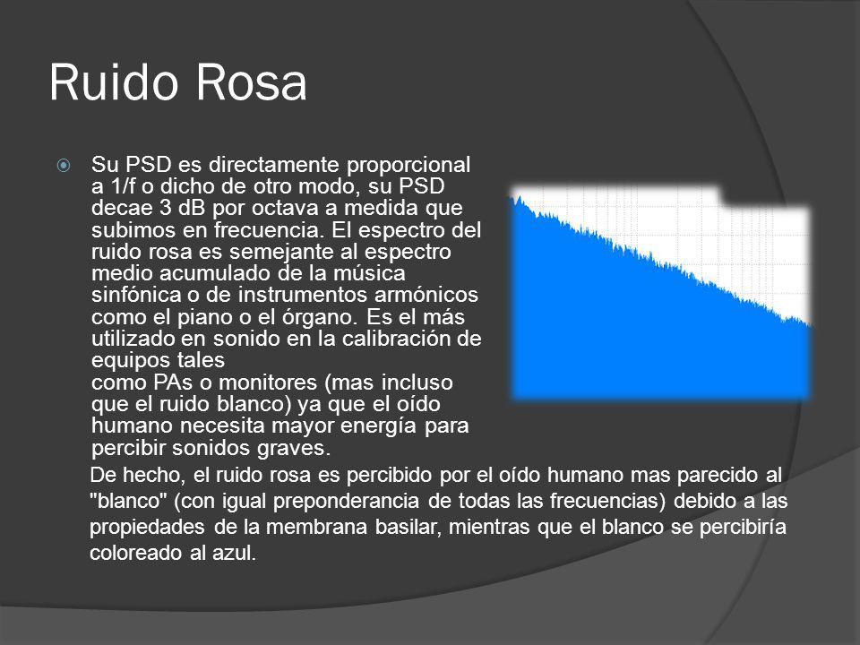 Ruido Rosa Su PSD es directamente proporcional a 1/f o dicho de otro modo, su PSD decae 3 dB por octava a medida que subimos en frecuencia. El espectr