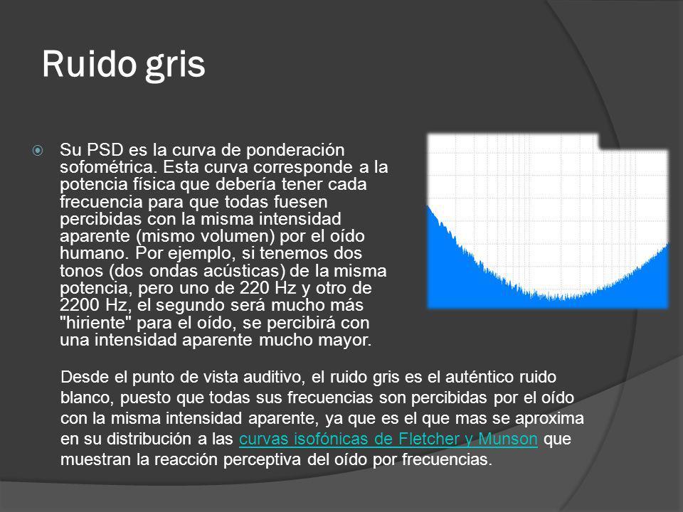 Ruido gris Su PSD es la curva de ponderación sofométrica. Esta curva corresponde a la potencia física que debería tener cada frecuencia para que todas