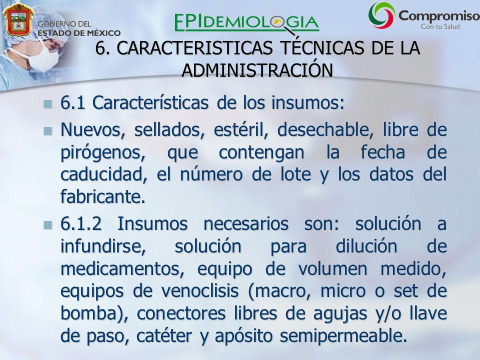 6. CARACTERISTICAS TÉCNICAS DE LA ADMINISTRACIÓN 6.1 Características de los insumos: 6.1 Características de los insumos: Nuevos, sellados, estéril, de