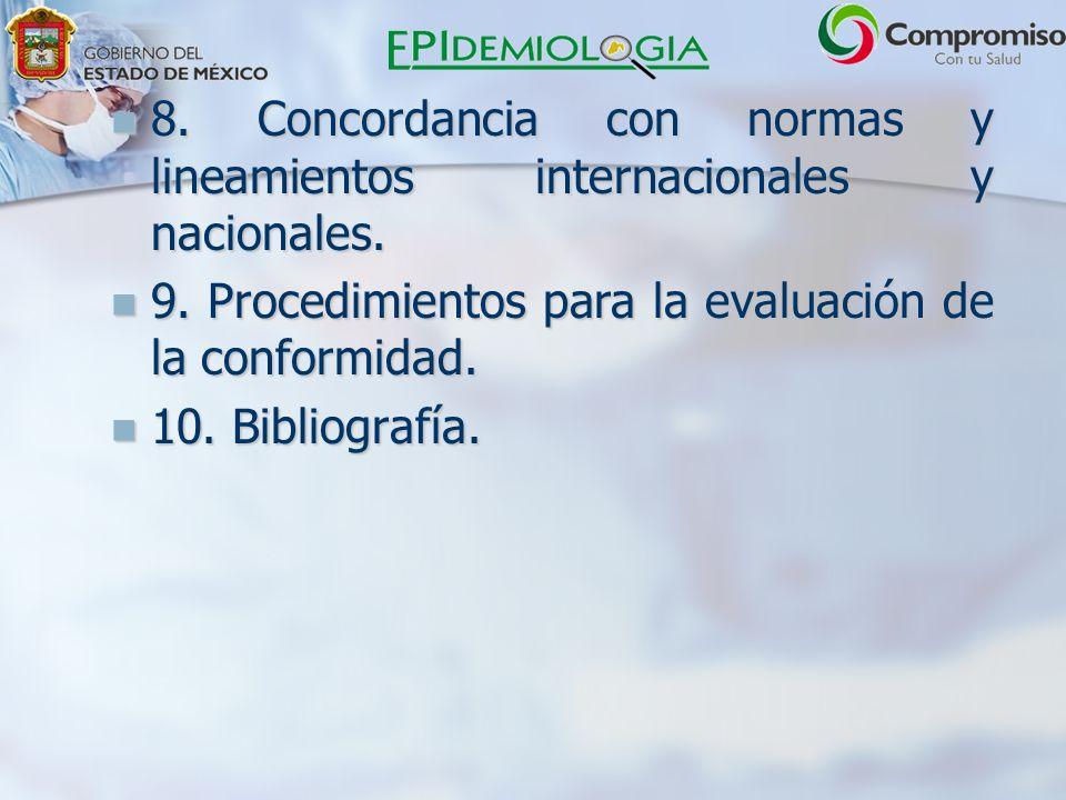 8.Concordancia con normas y lineamientos internacionales y nacionales.