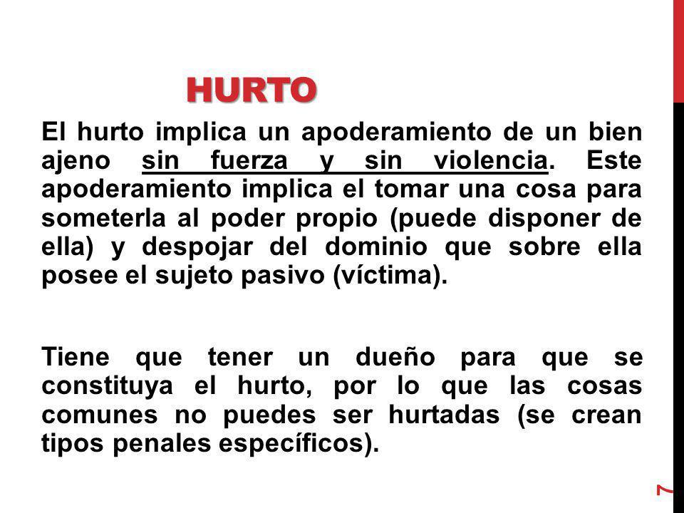 ROBO El robo, es un hurto agravado por la violencia que se ejerce como fuerza en las cosas o como violencia sobre las personas.