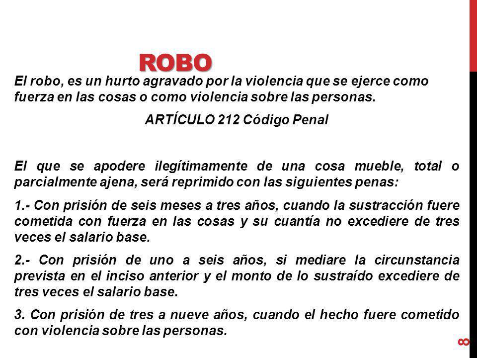 ROBO El robo, es un hurto agravado por la violencia que se ejerce como fuerza en las cosas o como violencia sobre las personas. ARTÍCULO 212 Código Pe